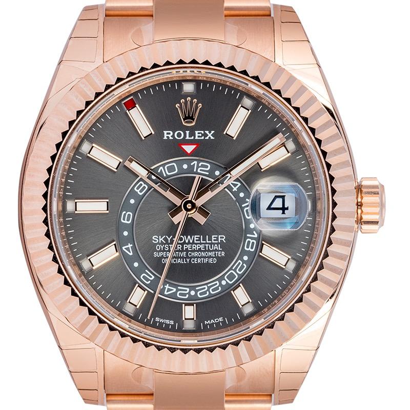 Rolex Sky-Dweller 18ct Everose Gold Dark Rhodium Dial 326935