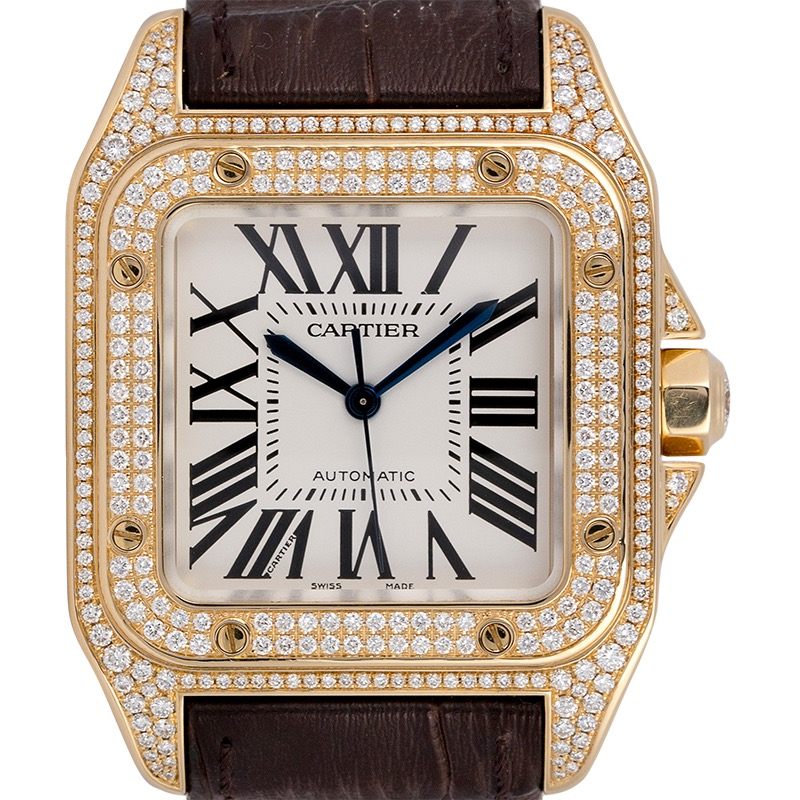 Cartier Santos 100 Midi Yellow Gold Factory Diamond Set WM502051
