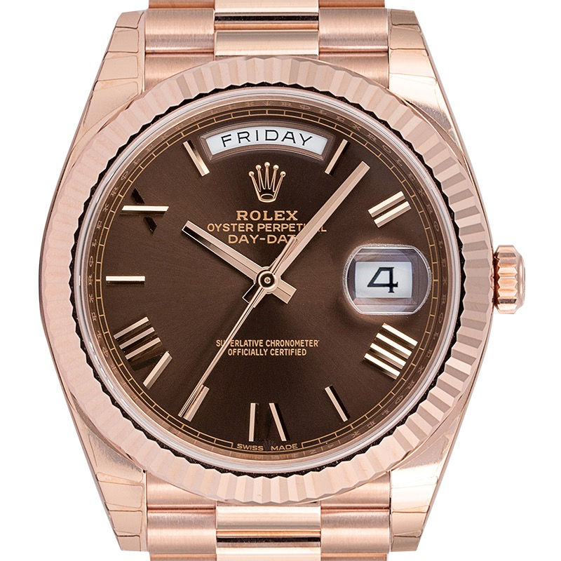 Rolex Day-Date 40 Everose Gold Chocolate/Roman President 228235