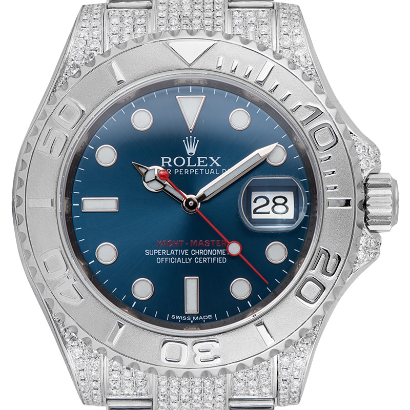 Rolex Yacht-Master 40 Steel Blue Dial Custom Micro Diamond Set 116622
