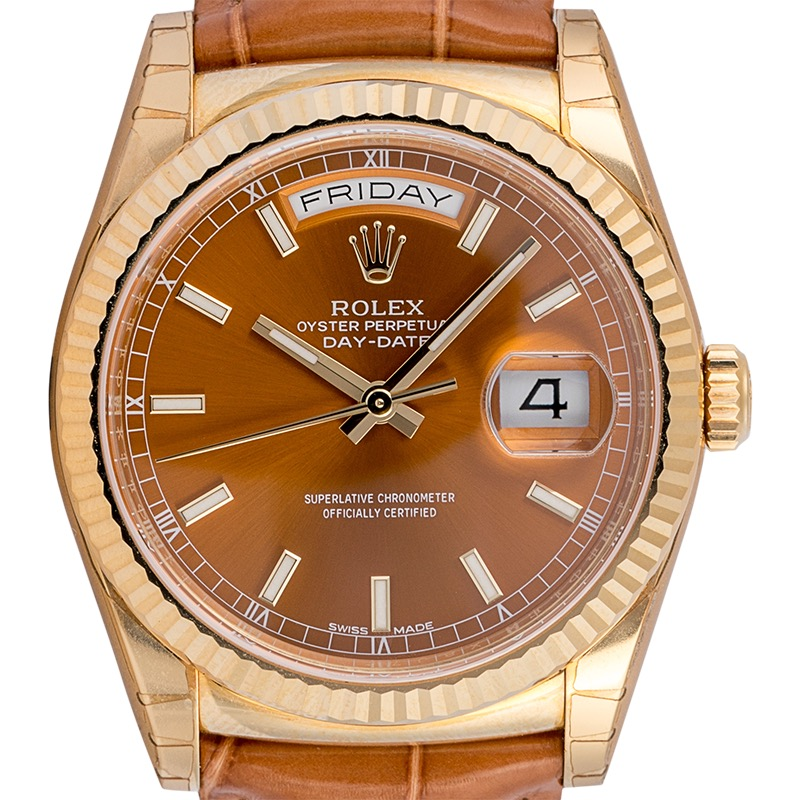 Rolex Day-Date 36 mm 18ct Yellow Gold Cognac Dial 118138