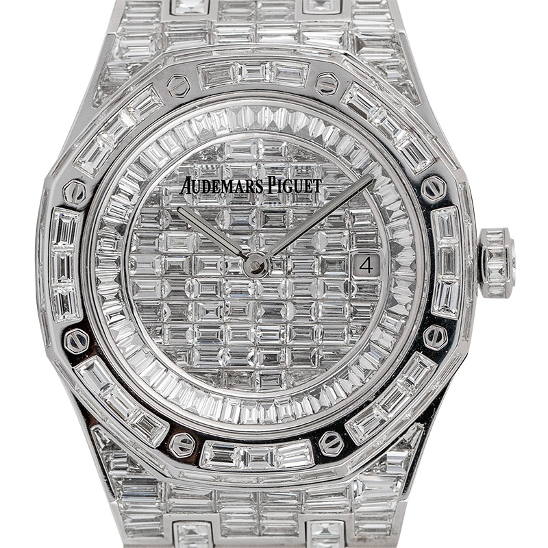 Custom Diamond Set Audemars Piguet Royal Oak 41 Baguette Diamonds Watch