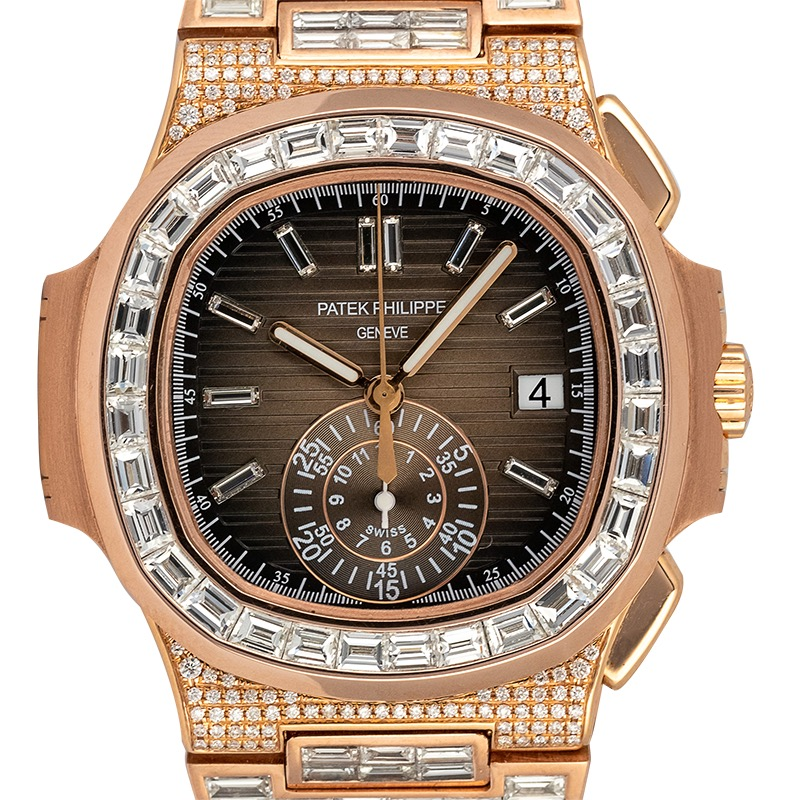 Custom Diamond Set Rose Gold Patek Philippe Nautilus 5980