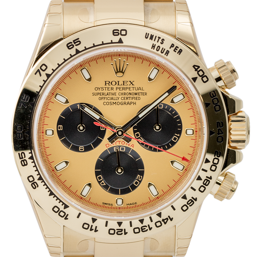 Rolex Cosmograph Daytona Full Yellow Gold Champagne/Black Index 116528
