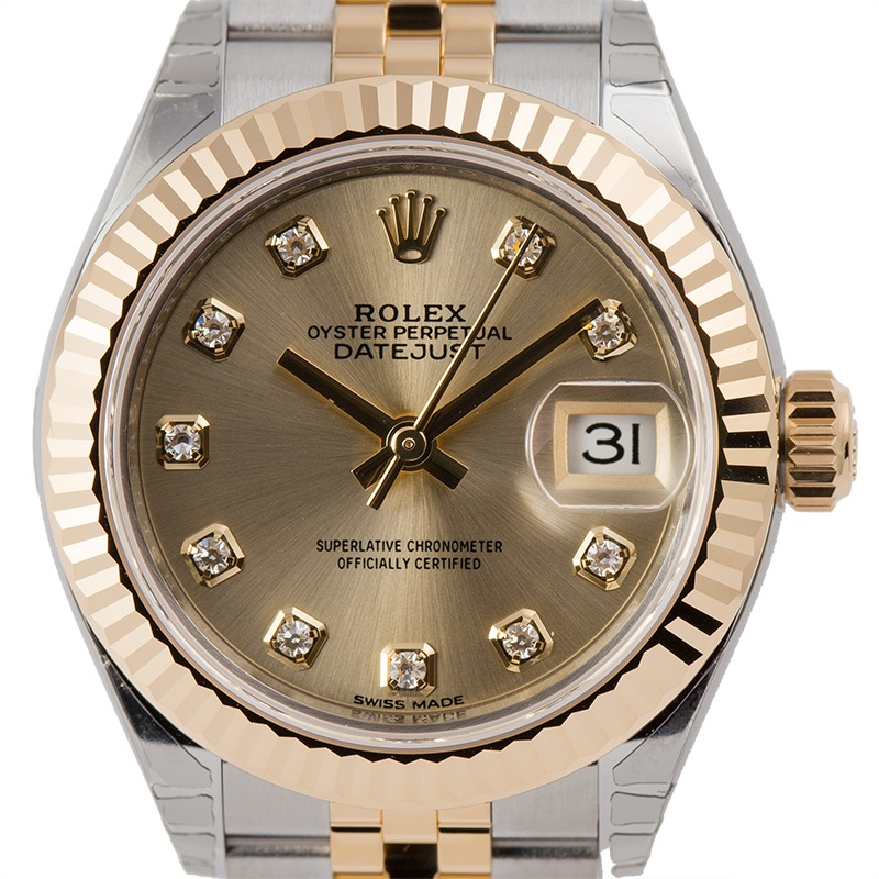 Rolex Lady-Datejust Steel and Yellow Gold Champagne/Diamonds 279173