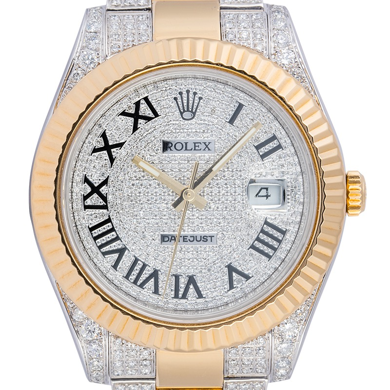 Rolex Datejust II in steel and 18ct yellow gold custom diamond set 116333