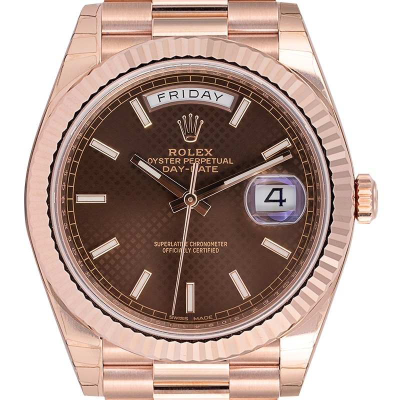Rolex Day-Date 40 18ct Everose Gold Chocolate Diagonal Motif Dial 228235-0006