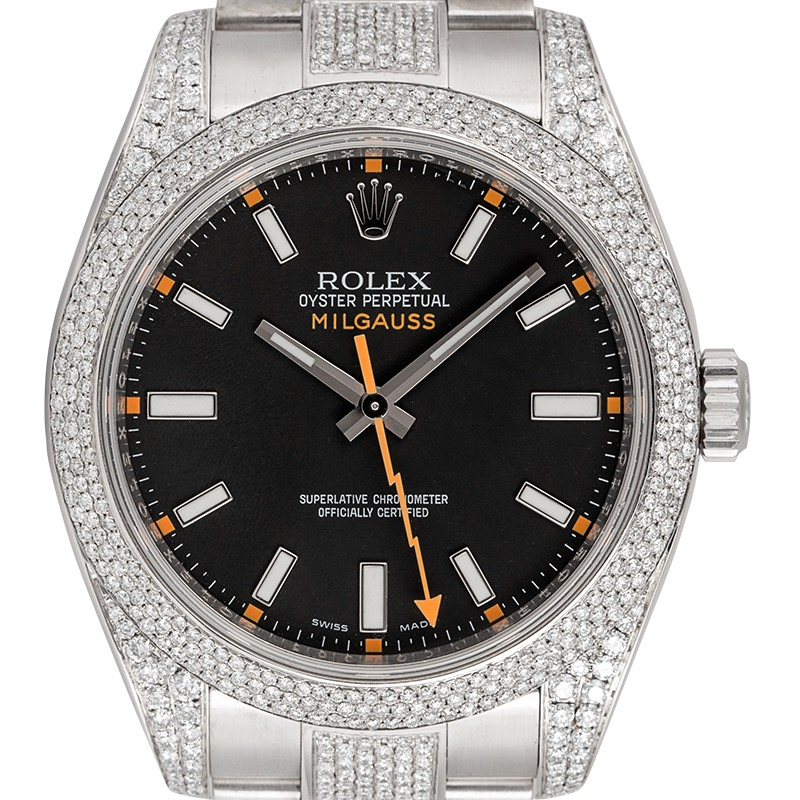 Rolex Milgauss Custom Diamond Set with Black Dial 116400