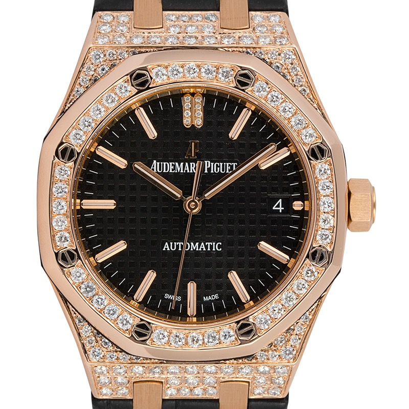Custom Diamond Set Audemars Piguet Royal Oak 37mm Rose Gold Black Dial Watch