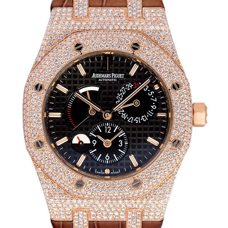 Custom Diamond Set Audemars Piguet Royal Oak Dual Time Rose Gold