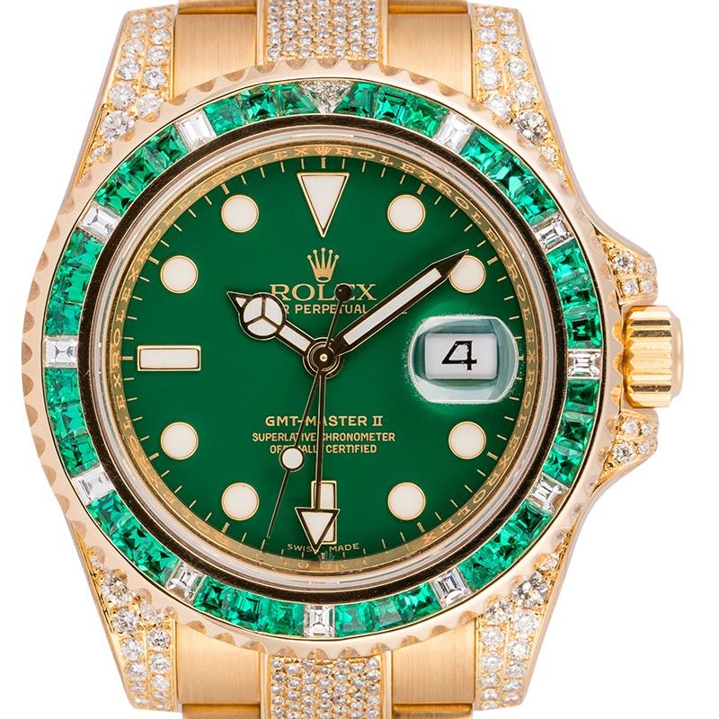 Rolex GMT-Master II 18ct Yellow Gold Custom Diamond Set 116718LN
