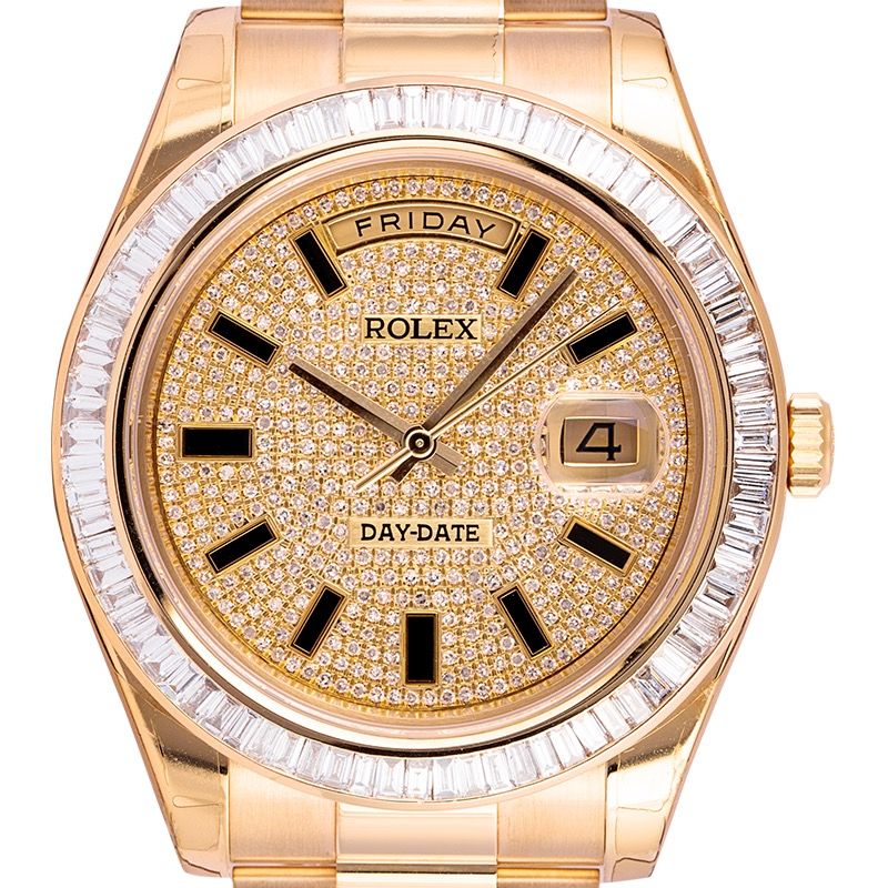 Rolex Day-Date 41 18ct Yellow Gold with Custom Diamond Set Bezel and Dial 218238