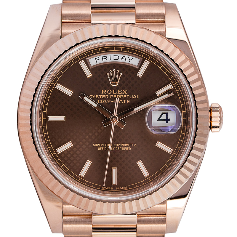 Rolex Day-Date 40 18ct Everose Gold Chocolate Diagonal Motif 228235
