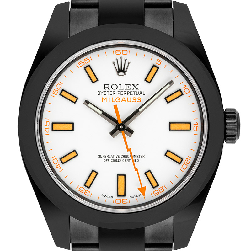 Rolex Milgauss Custom Black PVD with White Dial 116400