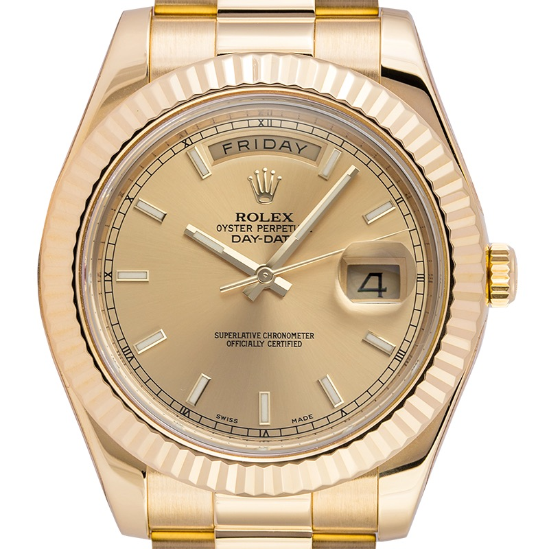 Rolex Day-Date 2 Yellow Gold Champagne/Index 218238