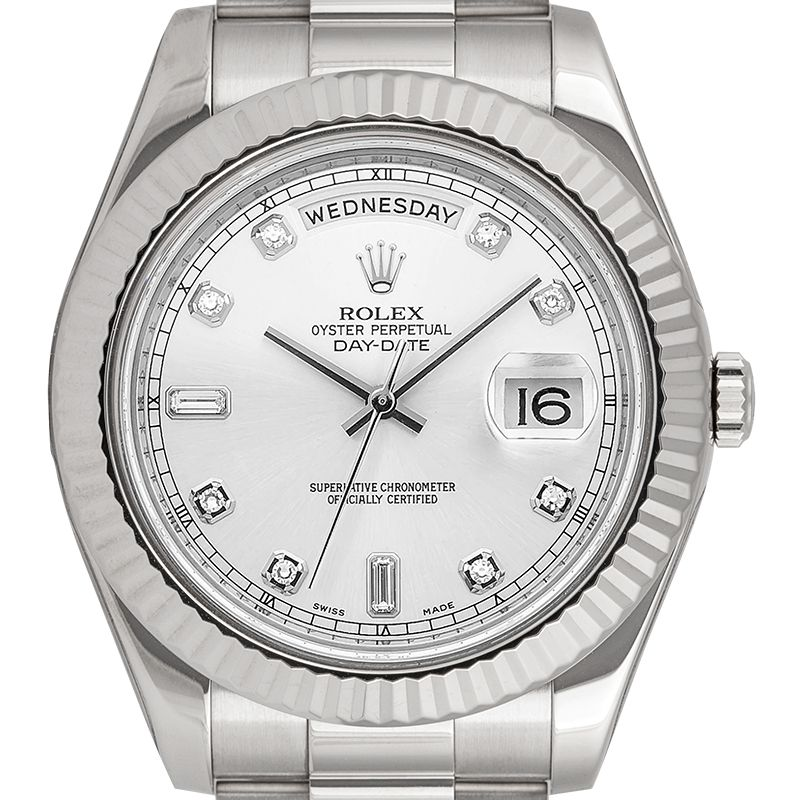 Rolex Day-Date II 18ct White Gold Silver/Diamond Dial 218239