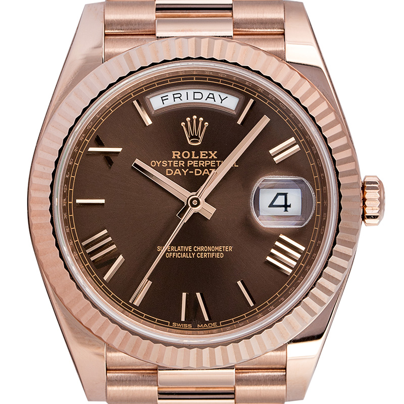 Rolex Day-Date 40 18ct Everose Gold Chcolate/Roman Dial 228235 Watch
