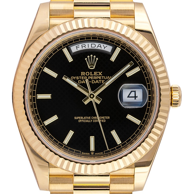 Rolex Day-Date 40 18ct Yellow Gold Black Diagonal Motif Dial 228238