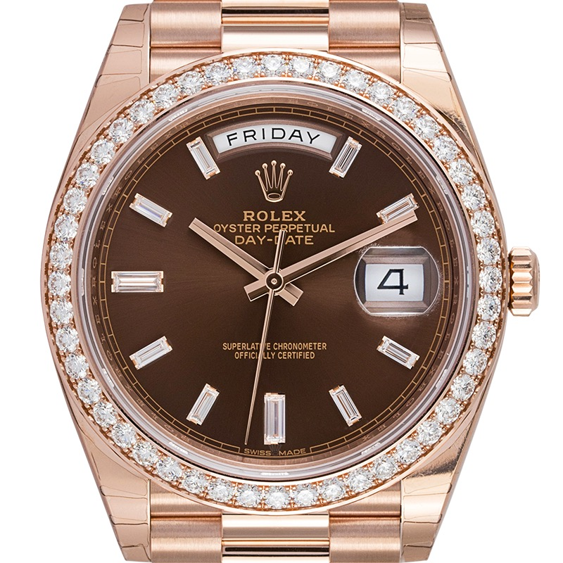 Rolex Day-Date 40 18ct Everose Gold Chocolate Dial Set with Diamonds 228345RBR