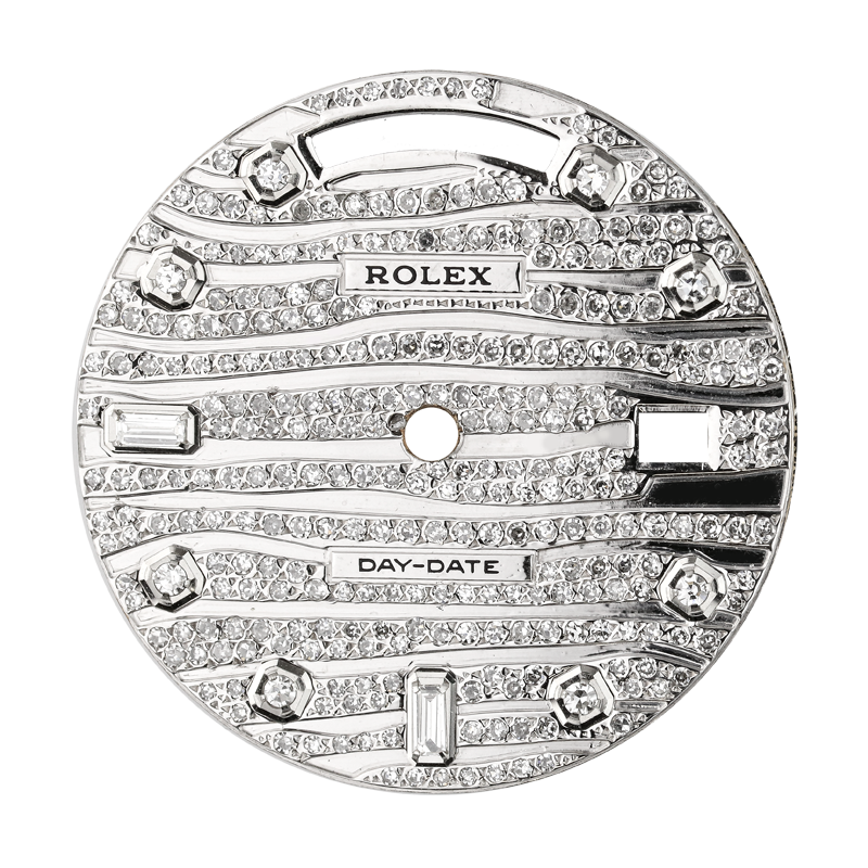 Rolex Day-Date 41mm Steel Wave Design Diamond Set Custom Dial