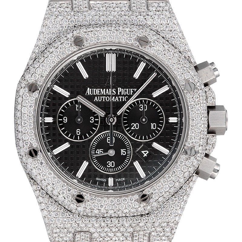 Custom Diamond Set Audemars Piguet Royal Oak Chronograph Black Dial Watch