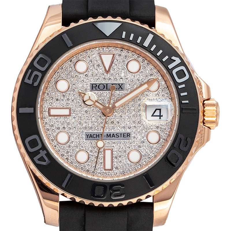Rolex Yacht-Master 37 Rose Gold Custom Diamond Paved Dial 268655