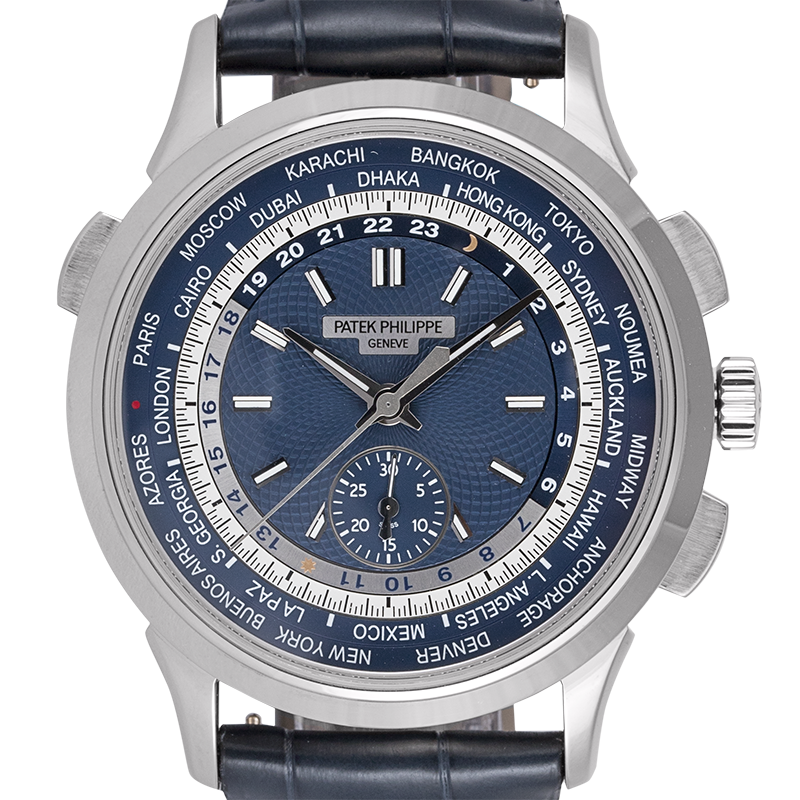Patek Philippe Complications White Gold Blue Leather Strap 5930G-001