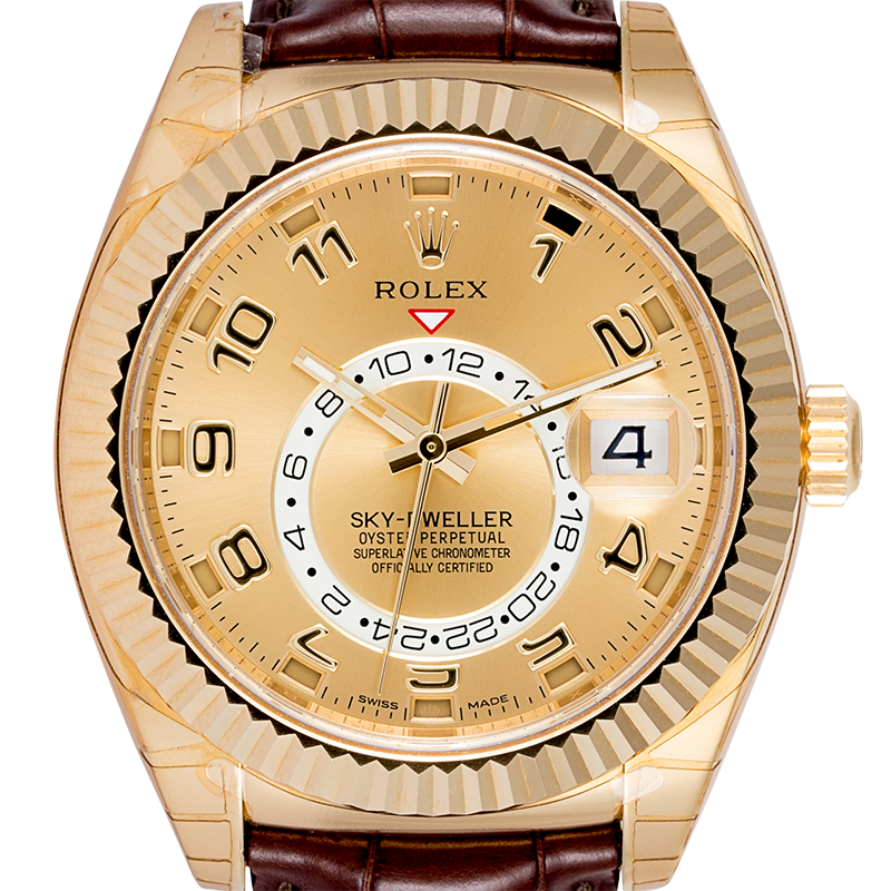 Rolex Sky-Dweller 18ct Yellow Gold Champagne/Arab Leather Strap 326138