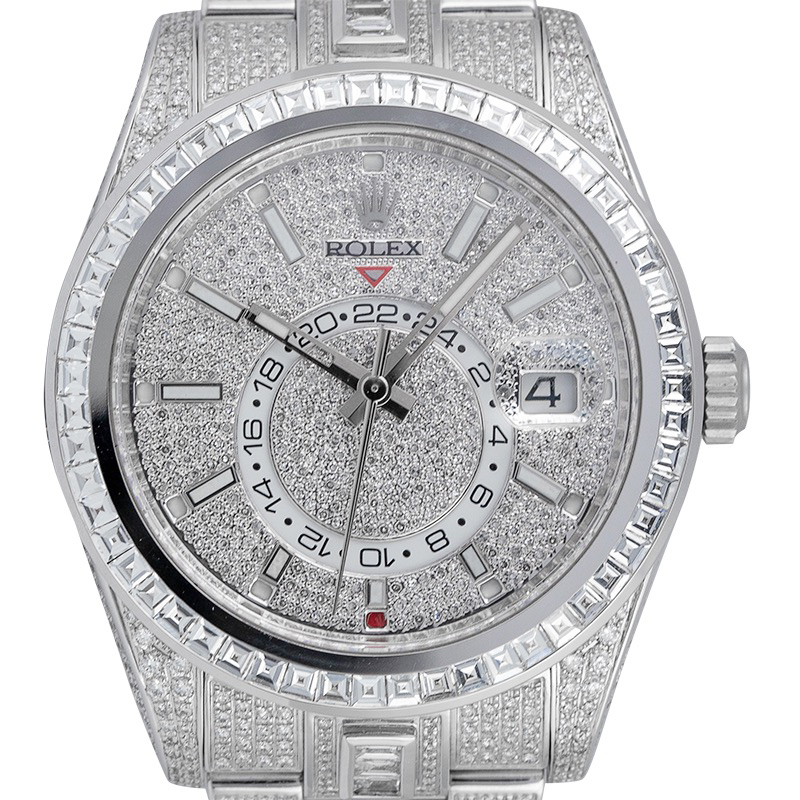 Custom Diamond Set Rolex Sky-Dweller 326934 with Custom Diamond-Paved dial