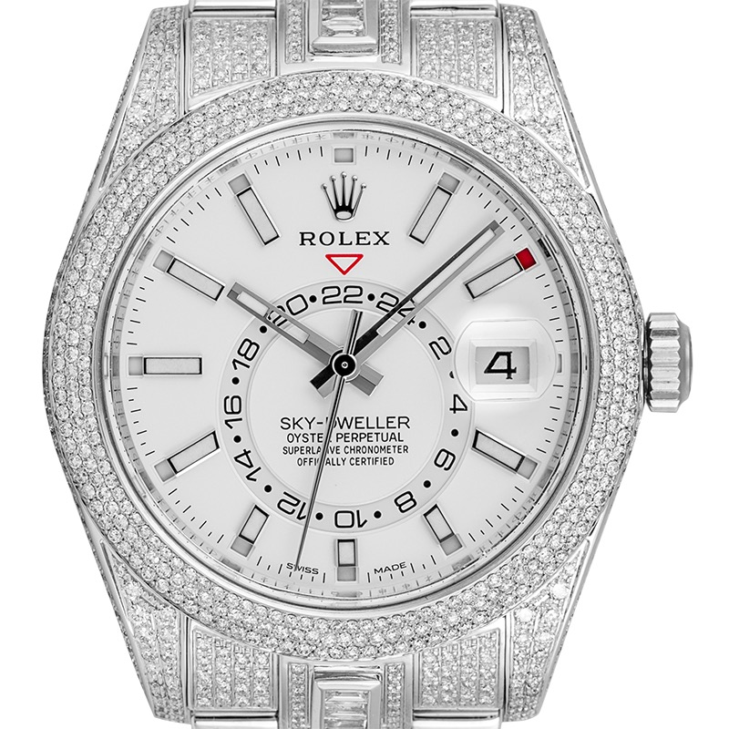 Custom Diamond Set Rolex Sky-Dweller 326934 Stainless Steel White Dial