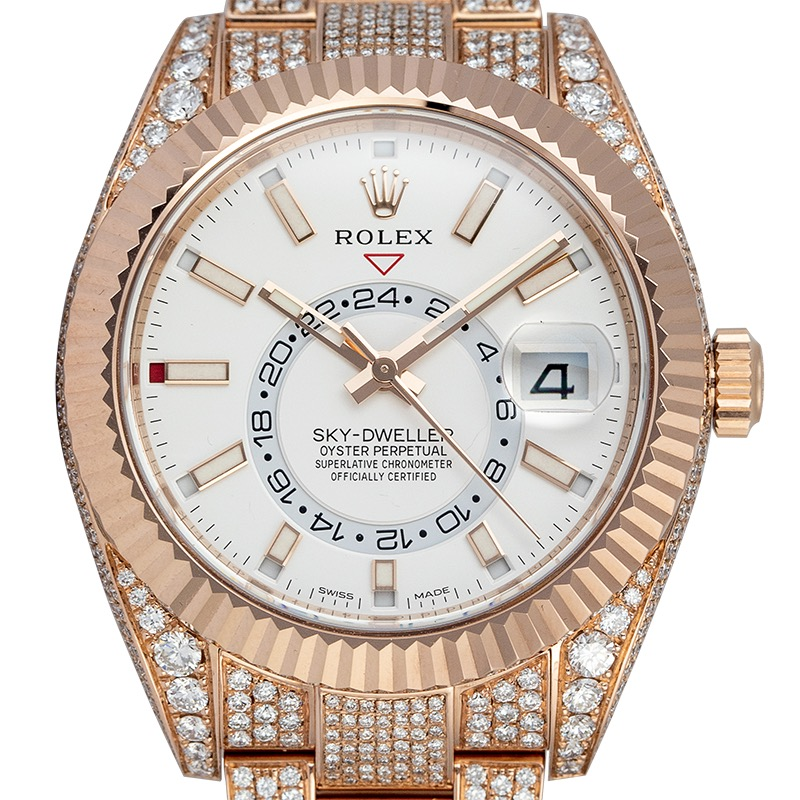 Diamond Set Rolex Sky-Dweller Rose Gold White Dial 326935