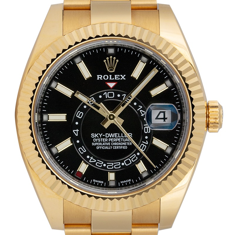 Rolex Sky-Dweller 18ct Yellow Gold Black Dial 326938
