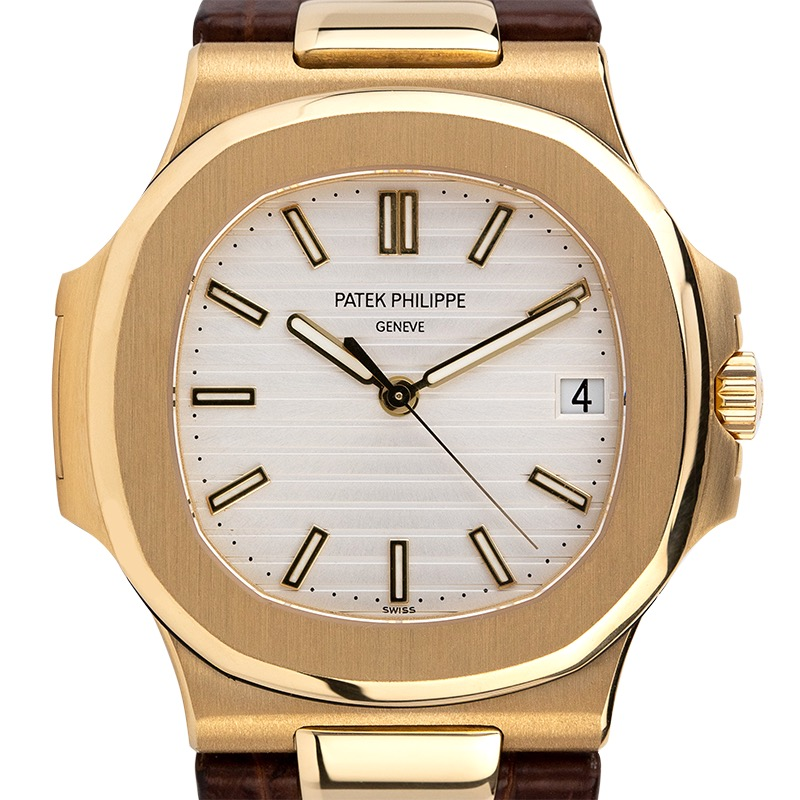 Pre-Owned Patek Philippe Nautilus 5711J Yellow Gold White Dial Leather Strap Watch