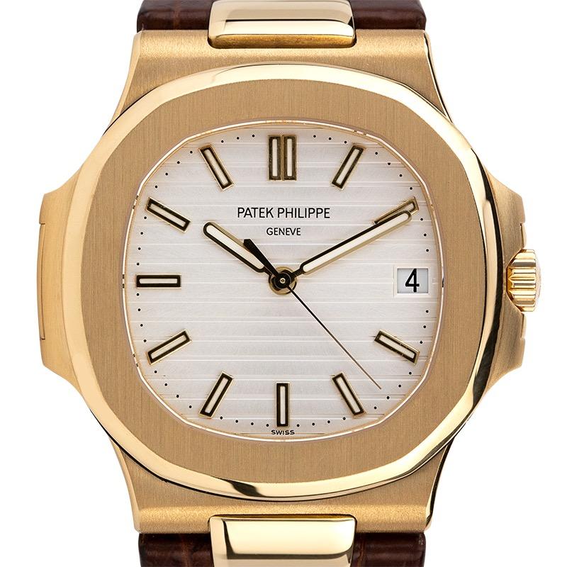 Patek Philippe Nautilus 5711J Yellow Gold White Dial Leather Strap Watch