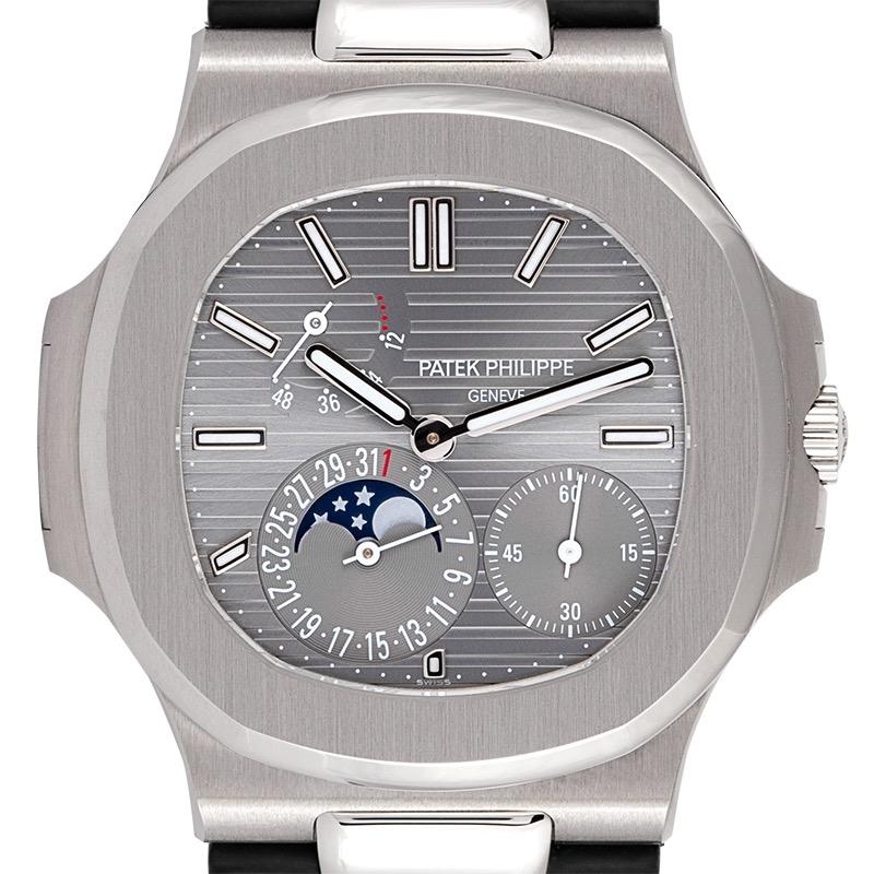 Patek Philippe Nautilus 5712G White Gold Black Leather Strap Watch