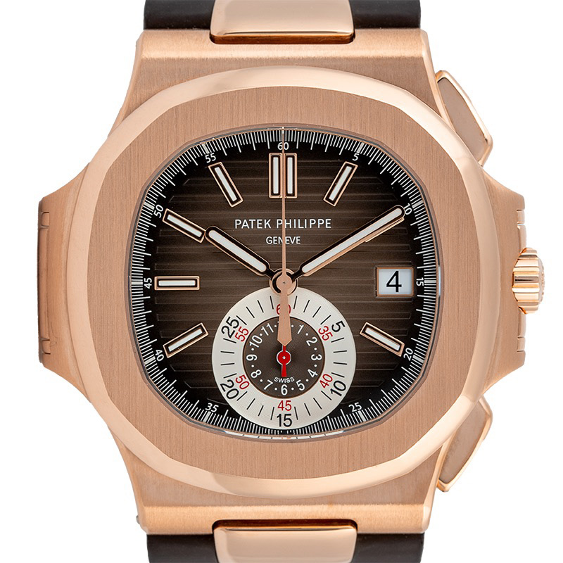 Patek Philippe Nautilus Rose Gold & Leather Strap 5980R-001