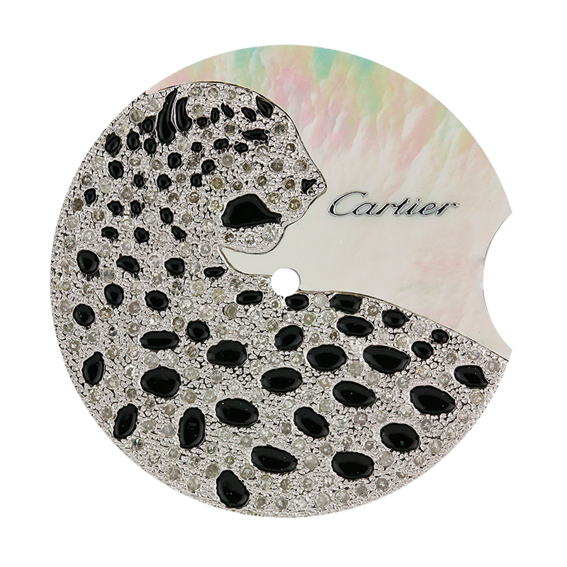 Cartier Ballon Bleu 36mm Mother of Pearl/Diamond Leopard Custom Dial