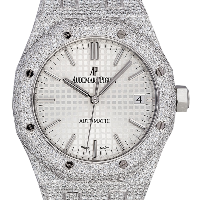 Custom Diamond Micro Set Audemars Piguet Royal Oak 37mm Stainless Steel
