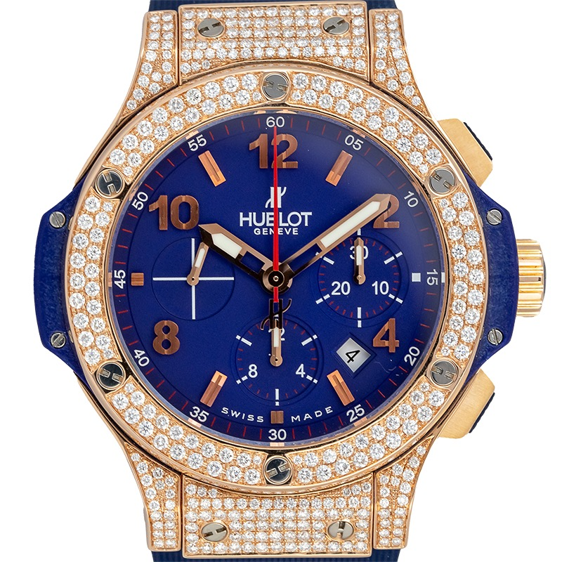 Custom Diamond Set Hublot Big Bang 44mm Rose Gold Blue Dial 301.PX.7123.RB.LBJ09