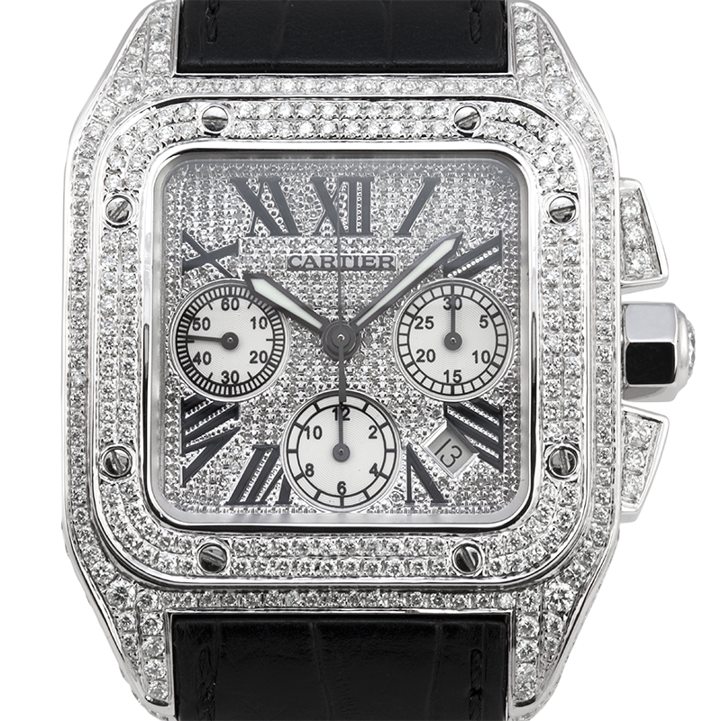 Cartier Santos 100 XL Chronograph Diamond Pavé Set W20090X8