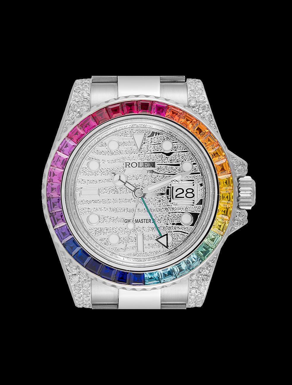 Rolex Gmt Master Ii Diamond Set Custom Rainbow 116710ln
