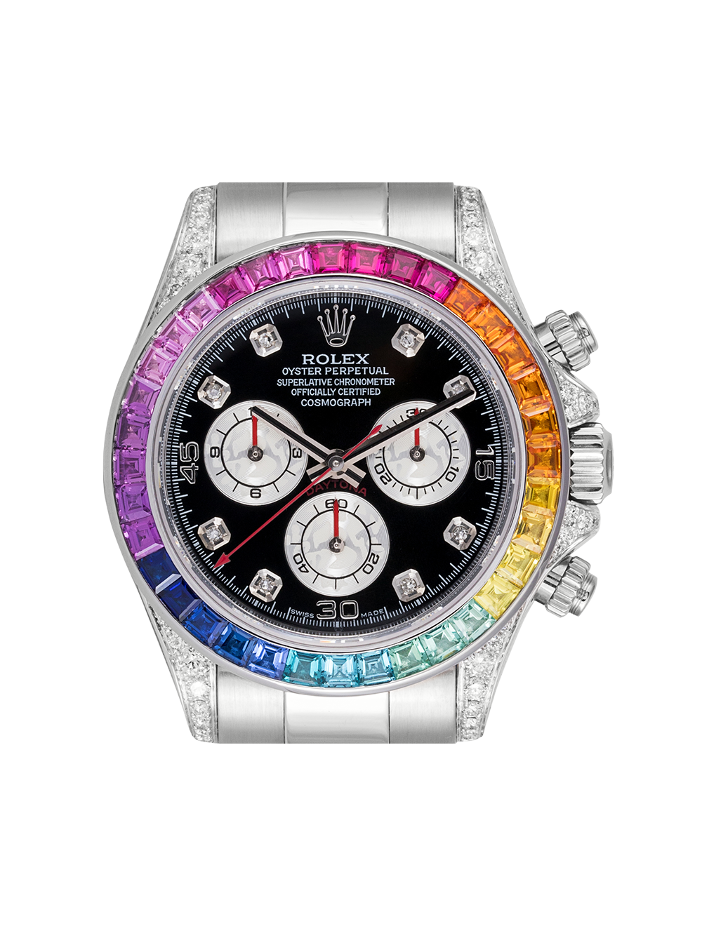 Rolex Cosmograph Daytona White Gold Rainbow Diamond Bezel 116509