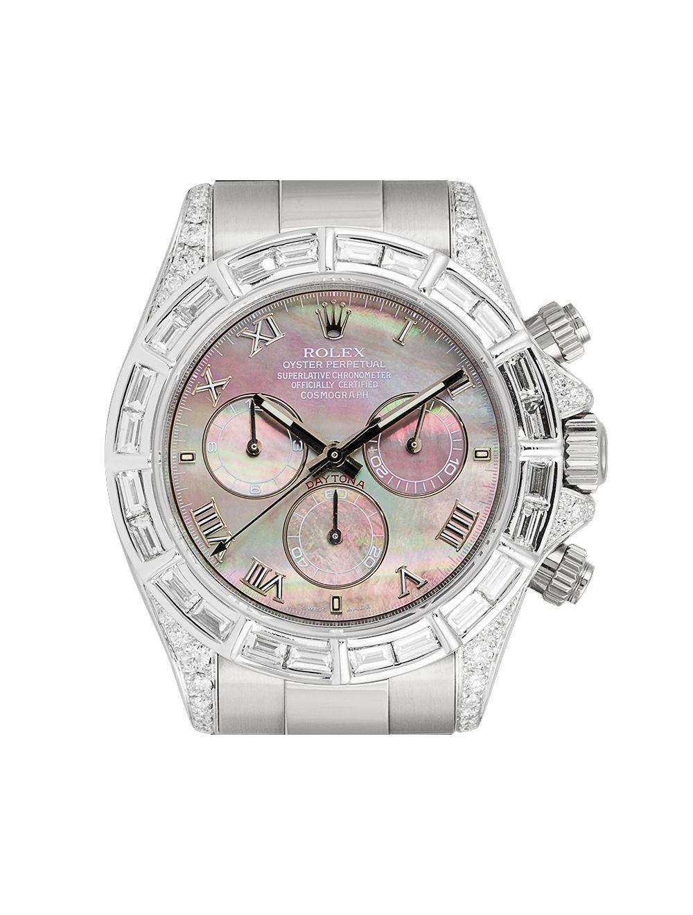 Rolex Daytona 18ct White Gold Diamond Set Tahiti Mother Of