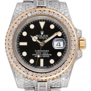 Rolex Submariner Date 116613LN Custom Diamond Set Watch