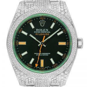 Custom Diamond Set Rolex Milgauss Steel 116400GV Watch
