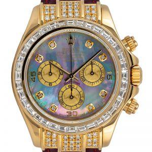 Rolex Daytona Yellow Gold Diamond Set Custom MOP Dial 116518