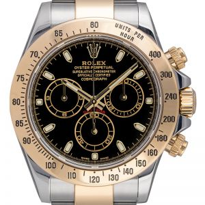 Pre-Owned Rolex Daytona Steel and Yellow Gold Black Dial 116523 Watch