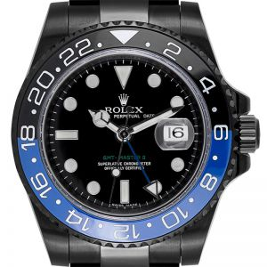 Custom Black PVD Rolex GMT-Master II 116710LN with Custom Black/Blue Insert