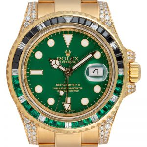 Rolex GMT-Master II Yellow Gold Custom Green Black Bezel 116718LN