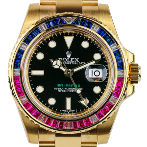 Rolex GMT-Master II Yellow Gold Sapphires and Rubies 116748 SARU